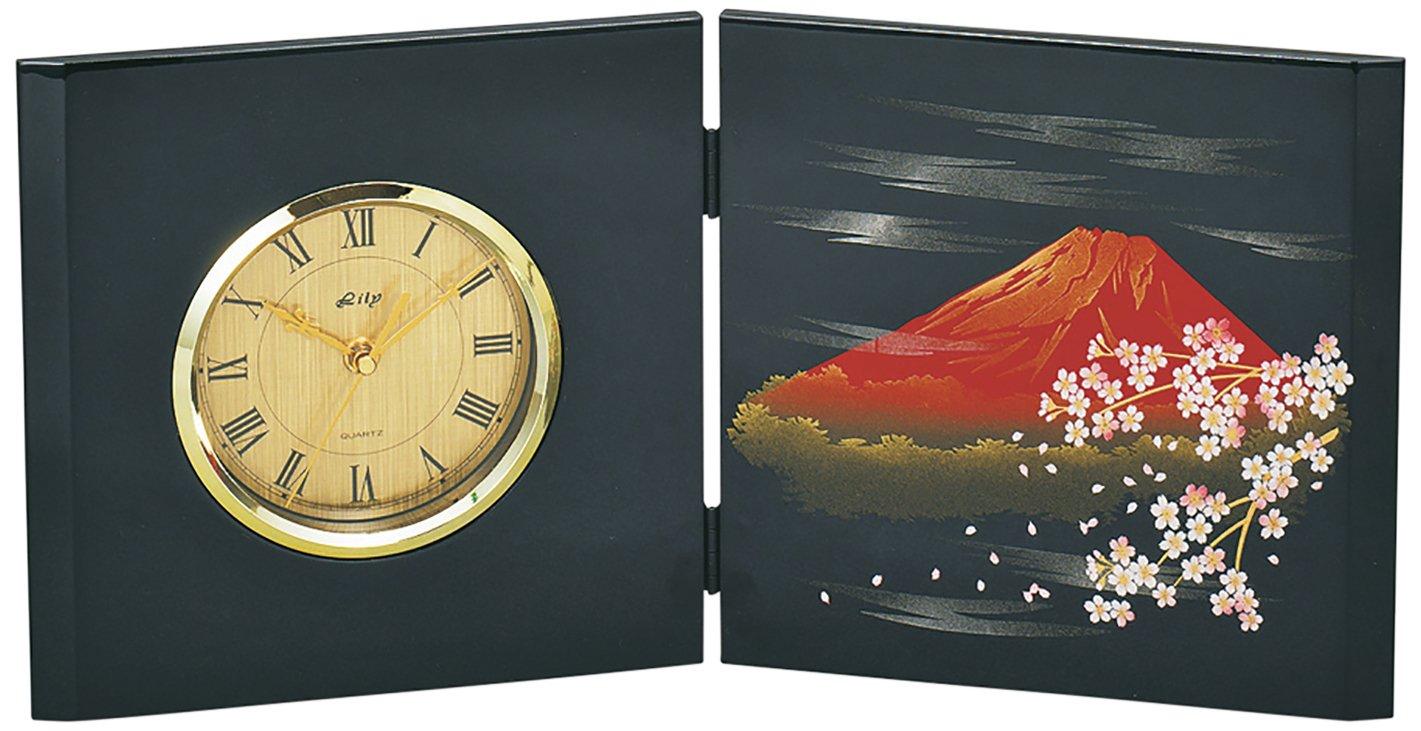 山中塗 富士さくら 面取屏風 時計 (木製) M16642-2 B0762NYQRG