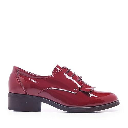 b018dec85e Castellanísimos Zapato de Vestir con Flecos en Charol Burdeos Mujer   Amazon.es  Zapatos y complementos