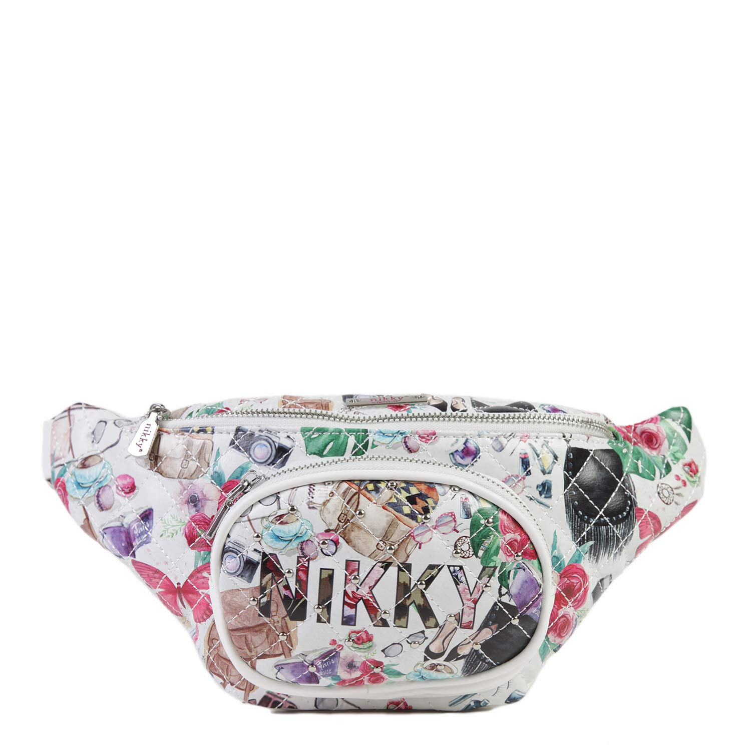 Spacious Compartment Adjustable Belt Goes Color Nikky Womens Quilted Large Printed White Fanny Pack One Size
