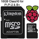 Mikro SD Karte vorgeladen mit NOOBS or Raspbian für Raspberry Pi Modell Null, B+ & Pi 2, Class 10 - 16GB-Raspbian