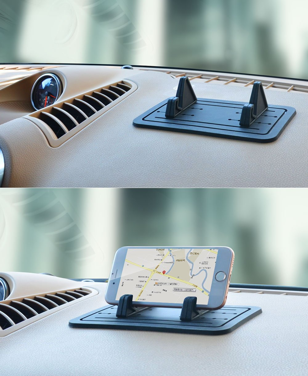 Cobao Car Silicone Anti-Slip Pad Dash Mat /& Cell Phone Mount Holder Cradle Dock for Any Smartphone iPhone X//8//7//6//5//4 Samsung Galaxy S7//S6//S5//S4 Edge 7 /& GPS Table Holder 2 in 1 S Plus