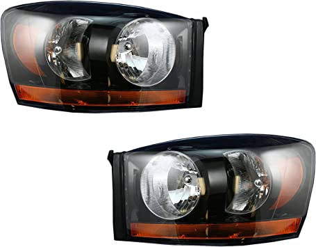FOR 2006 DODGE RAM TRUCK New Replacement Black Headlight Assembly RH