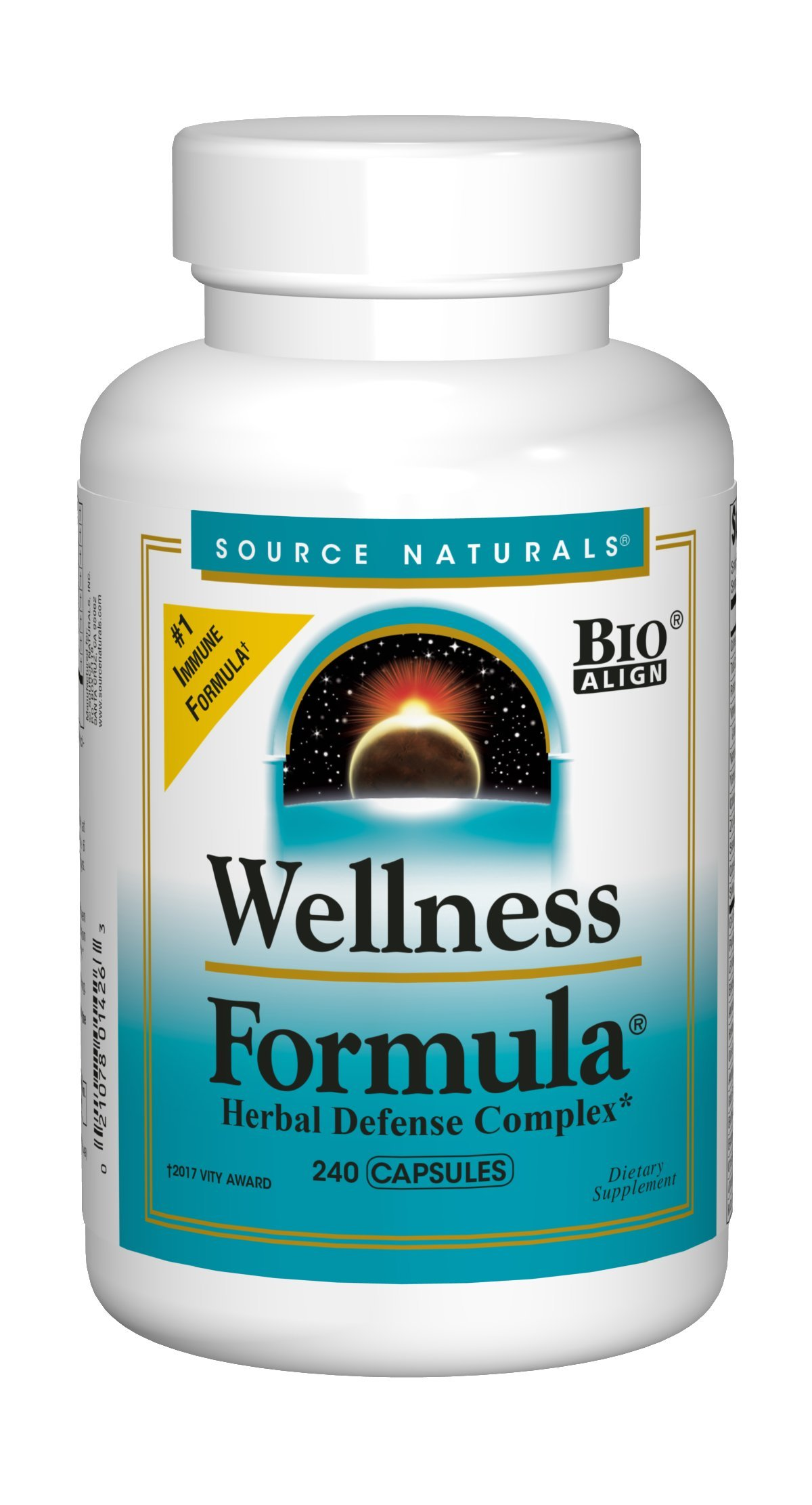 Source Naturals Wellness Formula Bio-Aligned Supplement Herbal Defense Complex Immune System Support & Immunity Booster Wholefood Multivitamin With Vitamins & Antioxidants - 240 Capsules