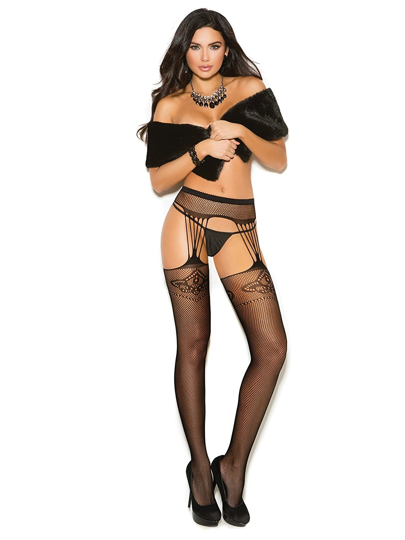 011df27263b Amazon.com  Elegant Moments EM-1190 Crochet suspender pantyhose Black    O S  Clothing