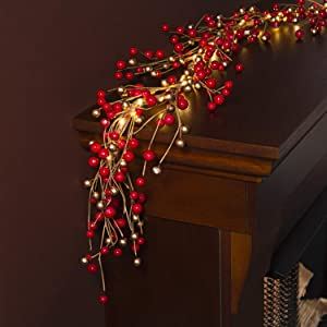 Christmas Garland with Lights - 6 Ft, Battery Operated, 100 LED Lights, Red and Gold Pip Berry Branch, Primitive/Farmhouse Style, Lighted Indoor Holiday Decor for Table or Fireplace Mantle