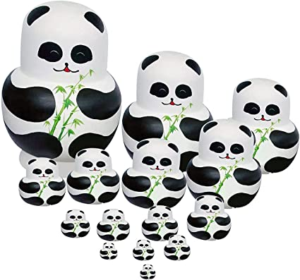 5pcs//Set Matryoshka Russian Nesting Dolls Toy Wooden Doll panda bamboo Painted