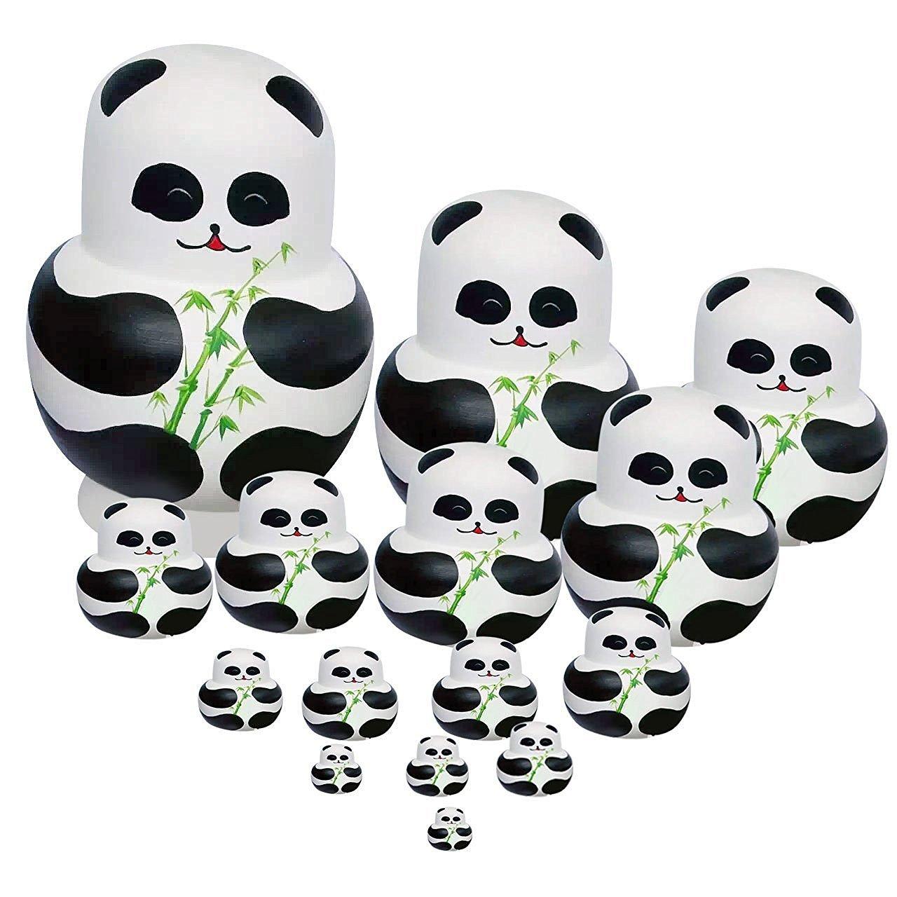Winterworm Set of 15 Panda with Bamboo Nesting Dolls Matryoshka Russian Doll Popular Handmade Kids Girl Gifts Christmas Toy
