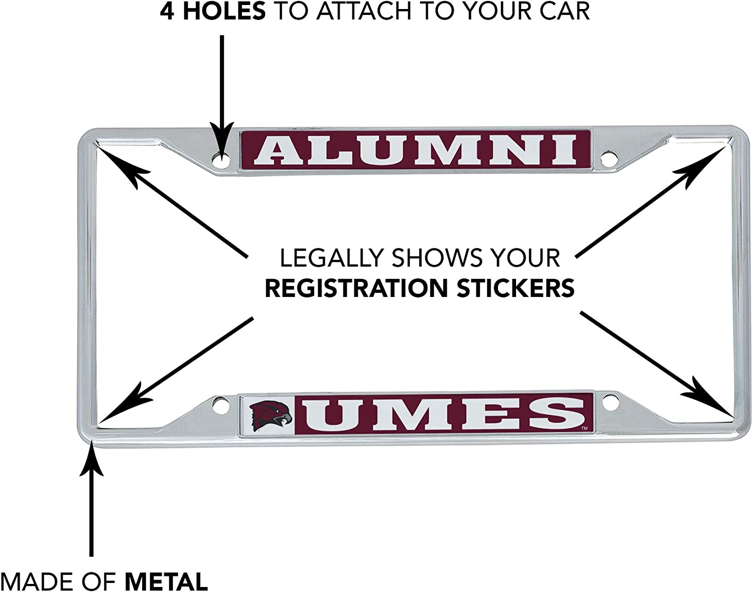 Alumni Desert Cactus University of Maryland Eastern Shore UMES Hawks NCAA Metal License Plate Frame for Front Back of Car Officially Licensed