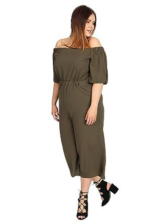 aa9833789277c Lovedrobe GB Women s Plus Size Khaki Bardot Culotte Jumpsuit (16 ...