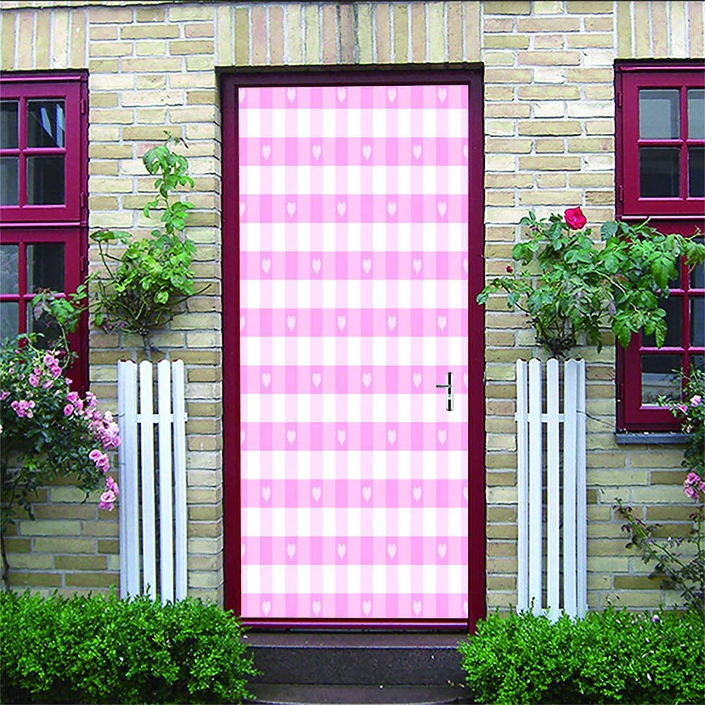3D Hd Etiqueta De La Puerta Celosía De Amor 3D Vinilo Adhesivo Impermeable De Pvc Adhesivos Arte De Salón Dormitorio Puertas Corredizas.77X200Cm