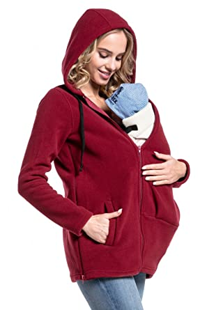 8308dc87d60 Happy Mama. Women s Maternity Fleece Hoodie Top Carrier Removable Insert.  498p (Crimson