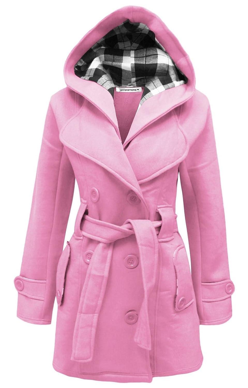 Janisramone Frauen neues Belted Fleece mit Kapuze Mantel Warm Knopf oben lange Hülsen-Jacke Top UK