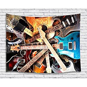 Music Tapestry Wall Hanging, Guitar Musical Instrument Rock Style Lover Premium Home Art Wall Decor, Upgrade Tapestries for Bedroom Living Room College Dorm 60X40 Inches