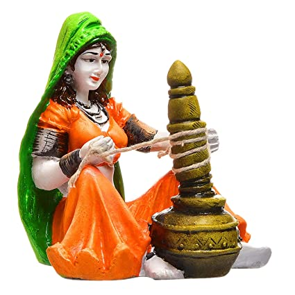 Karigaari Rajasthani Lady with Chaas Polyresine Showpiece (20.19 cm x 14.81 cm x 10.39 cm)