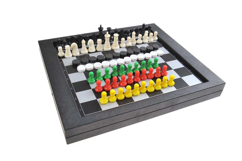 Magnetisches Brettspiel 3-in-1 (Standard Größe): Schach, Dame, Sternenhalma - magnetische Spielsteine, Spielbrett zusammenklappbar, 23cm x 20,5cm x 2,7cm, Mod. SC6708 (DE)