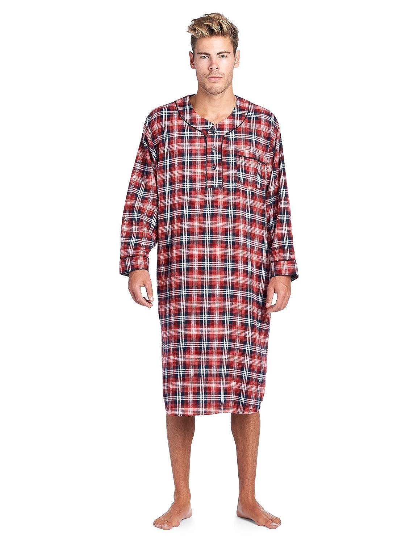 ff73b0b738 Ashford   Brooks Mens Flannel Plaid Long Sleep Shirt Henley Nightshirt at  Amazon Men s Clothing store