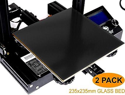DOBESTFY Upgraded Ender 3 Glass Bed, 3D Printer Build Surface Tempered  Glass Platform Heated Plate for Creality Ender 3/Ender 3 Pro 3D Printer