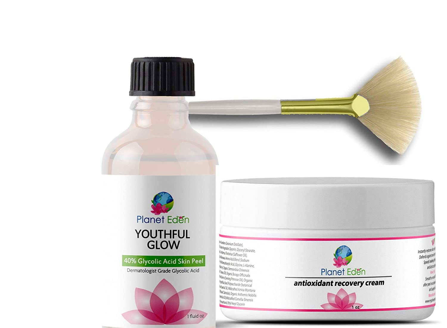 Planet Eden 40% Glycolic Acid Chemical Skin Peel Kit with Antioxidant Recovery Cream and Fan Brush