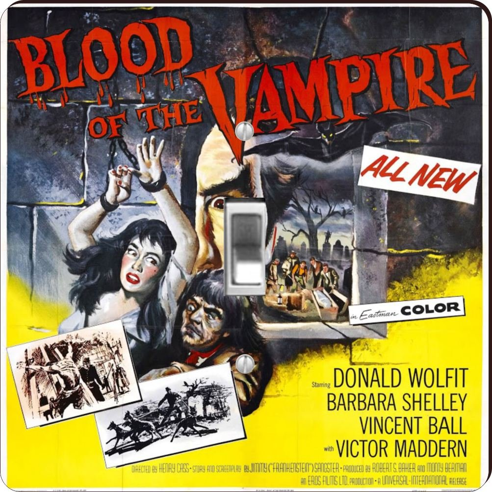 Rikki Knight RK-LSPS-3704 Vintage Movie Posters Art Blood Of Vampire 4 Design Light Switch Plate Cover