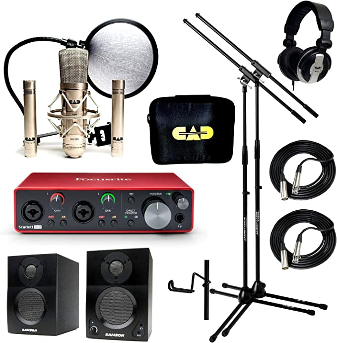 Casa estudio de grabación Bundle CAD GXL2200SSP mh110 Stands Focusrite Scarlett 2I2 (2nd Gen) Samson media One BT3 altavoces: Amazon.es: Instrumentos musicales