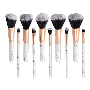 0f9f88f2fc87 Marble Makeup Brush Set, Zodaca 10-piece Professional Stylish Eyeshadow  Foundation Concealer...