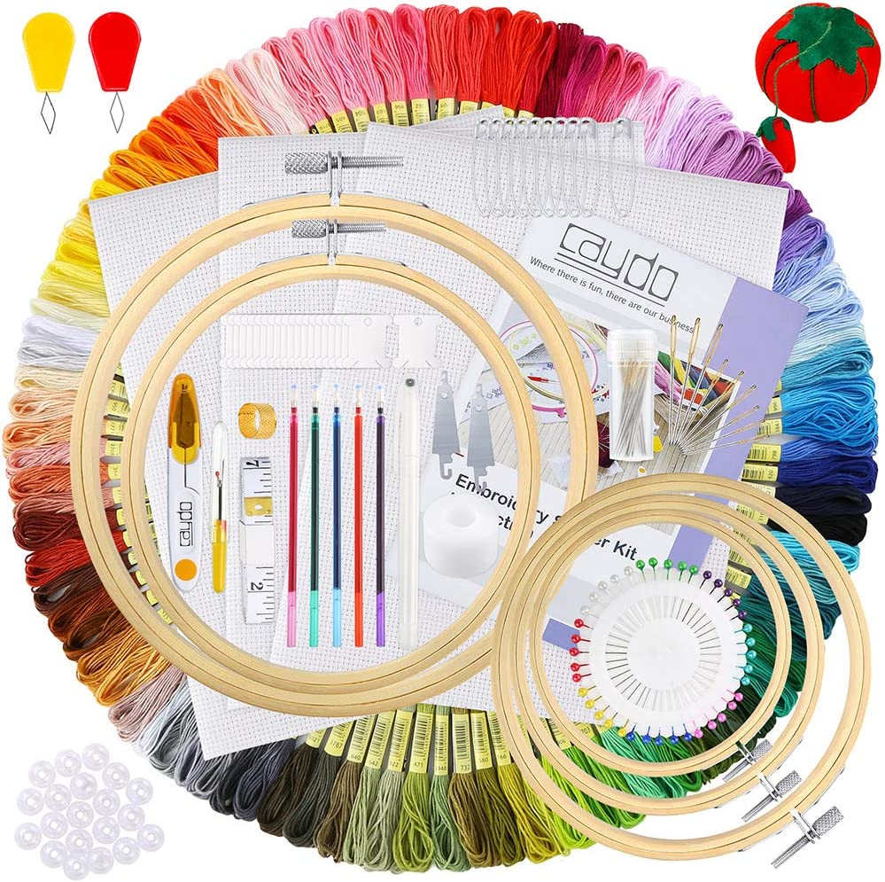 100 Colors Threads 40 Sewing Pins Caydo 244 Pieces Embroidery Kit with Instructions 3 Pieces Aida Cloth Embroidery Hoops and Cross Stitch Tools for Adults and Kids Beginners