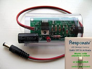 responsiv power switch remote led dimming controller 12v 24v 8a dc