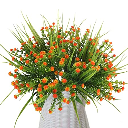Mihounion 4 bouquets artificial outdoor plants fake plastic flowers mihounion 4 bouquets artificial outdoor plants fake plastic flowers real touch greenery for wedding kitchen home junglespirit Choice Image
