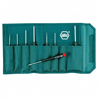 Wiha 26199 Slotted and Phillips Screwdriver Set in Rugged Canvas Pouch, 8 Piece