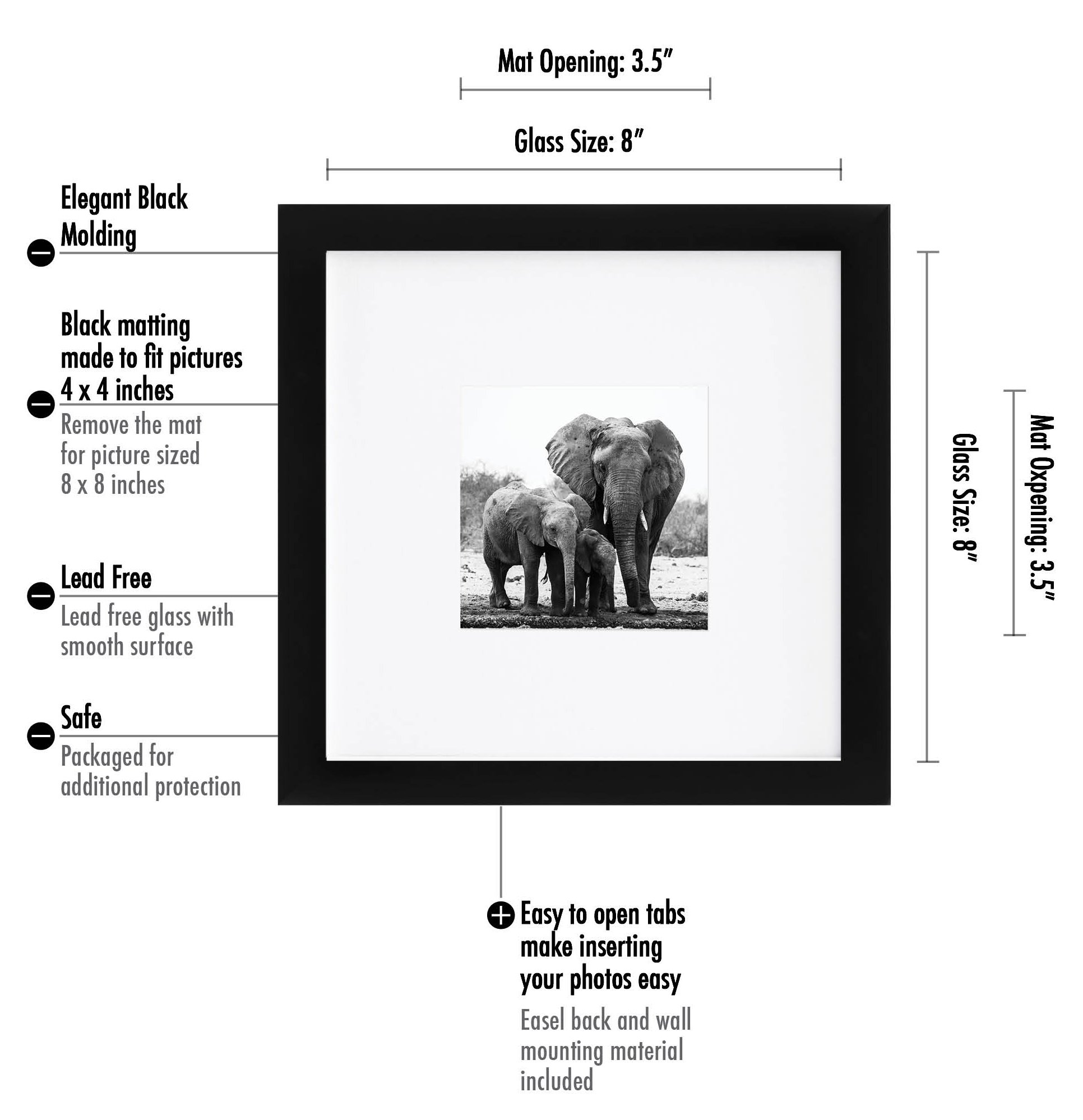 Americanflat 8x8 Picture Frame - Display Pictures 4x4 with Mat - Display Pictures 8x8 Without Mat, Black by Americanflat