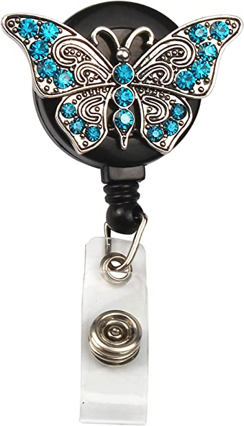 Clip Stationery Key Ring Butterfly Pattern Lanyards Badge Holder Retractable