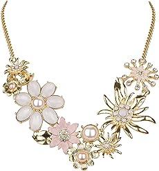 SIX Halskette: Traumhafte Statementkette in Gold mit verschiedenen Blumen, Edelweißblüten, Perlen und Strass, eng anliegend, rosa-Nude (730-506)
