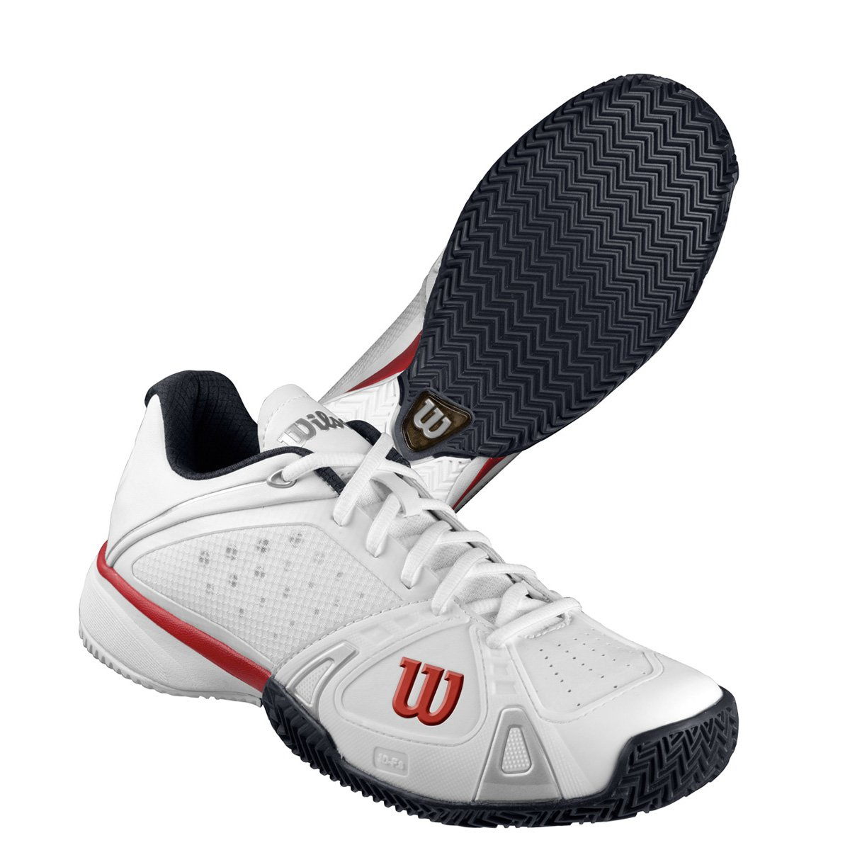 Wilson Rush Pro Men's Clay Court Tennis Shoes White/Red Size 8