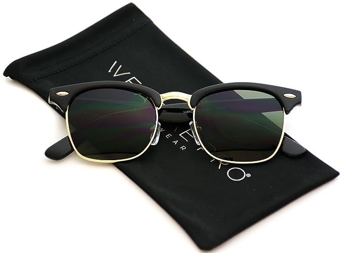 da751893bf7 Clubmaster Style Dark Green Lens Half Frame Sunglasses (Black Frame Green  Lens