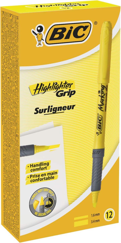BIC Highlighter Grip Marcadores Punta Biselada Ajustable - Amarillo, Caja de 12 Unidades, Subrayador fluorescente con tecnología antisecado