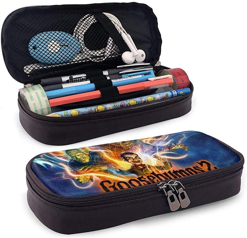 Goosebumps Halloween Estuche de lápices de cuero de gran capacidad, bolsa de almacenamiento multifunción con cremallera, papelería para estudiantes, regalo de oficina: Amazon.es: Oficina y papelería