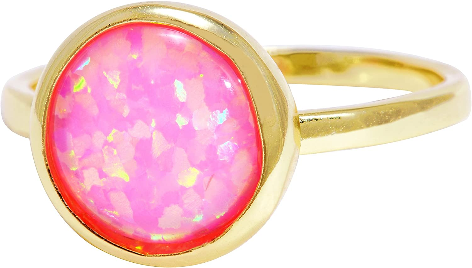 Created Opal 18k Gold Clad Wholesale Gemstone Round Ring