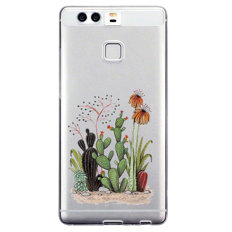 Huawei P9 Funda,Suave TPU Funda Adorable Caprichoso Parachoques Funda Case Cover Carcasa Para Huawei P9 silicona transparente