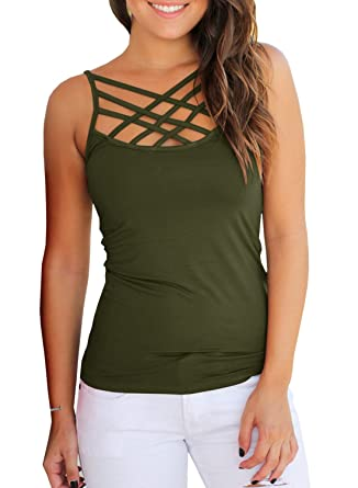1ac42ebce5c01c Women s Summer Casual Racerback Tank Top Fitted Criss Cross Camisole Summer  Top Army Green