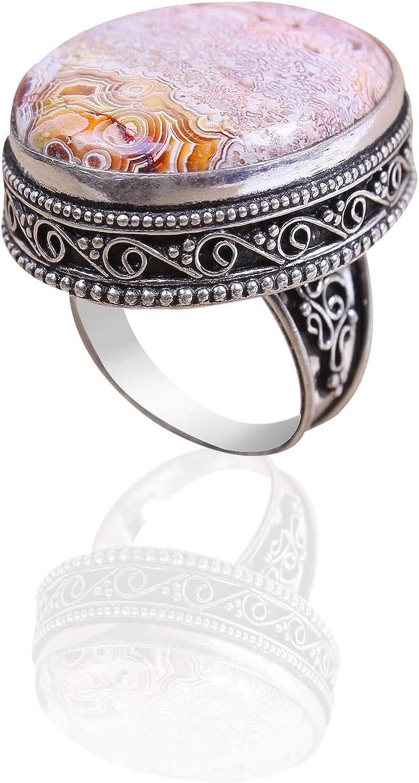 Neerupam Collection Anillo Hecho a Mano con Piedras Preciosas de Amazonita Natural Plateado, joyería de Moda para Mujer (R-03)