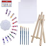 Art Canvas Paint Set Supplies – 22-Piece Canvas Acrylic Painting Kit with Wood Easel, 8x10 inch Canvases, 12 Non Toxic…
