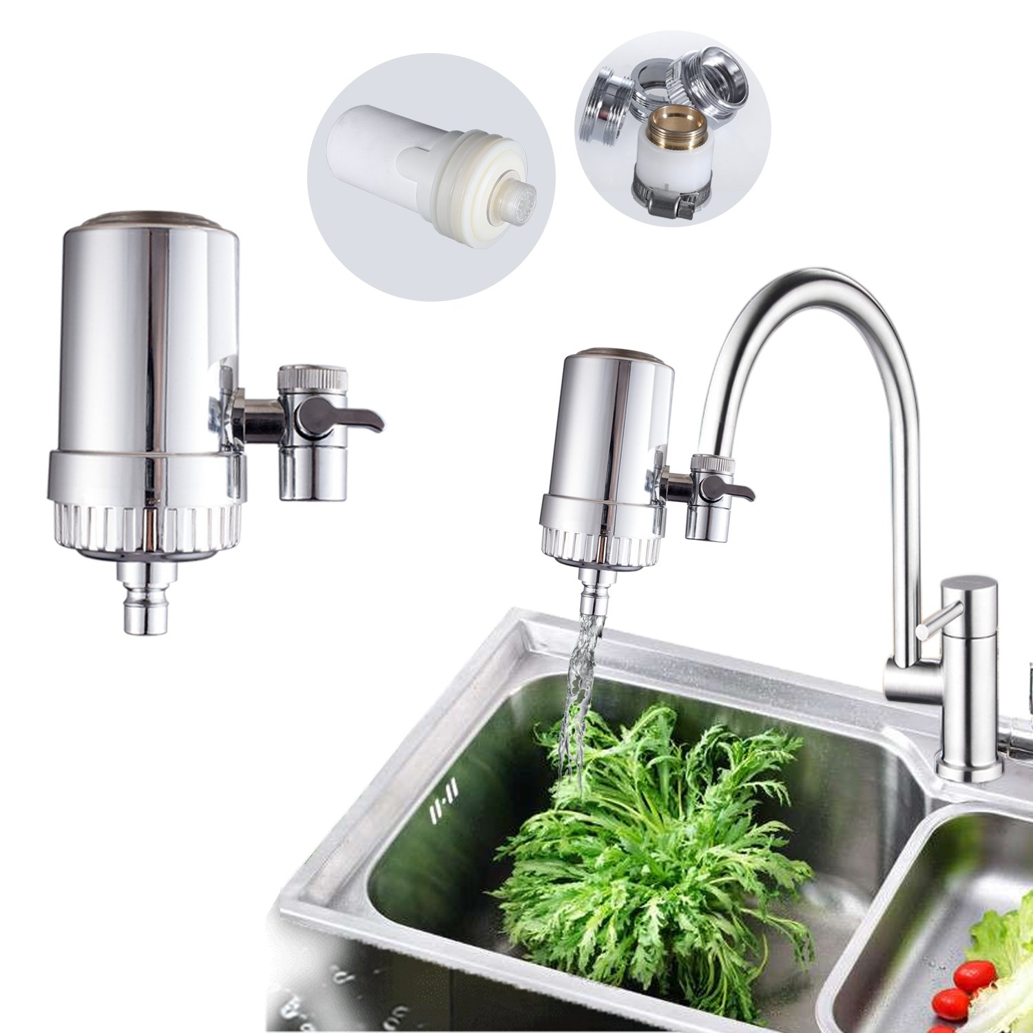 HuangXin Water Filter Faucet System Stainless Steel Advanced Device Tap Purifier for Kitchen