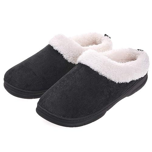 f63dcb39ebf4 Men Memory Foam Slippers Plush Fleece Lining Slip on Clog House Shoes Indoor  Outdoor Size 7