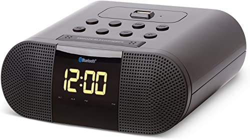 SoundLogic XT Wireless Bluetooth Alarm Clock Radio with Built-in 2.1A USB Charging Port, Black