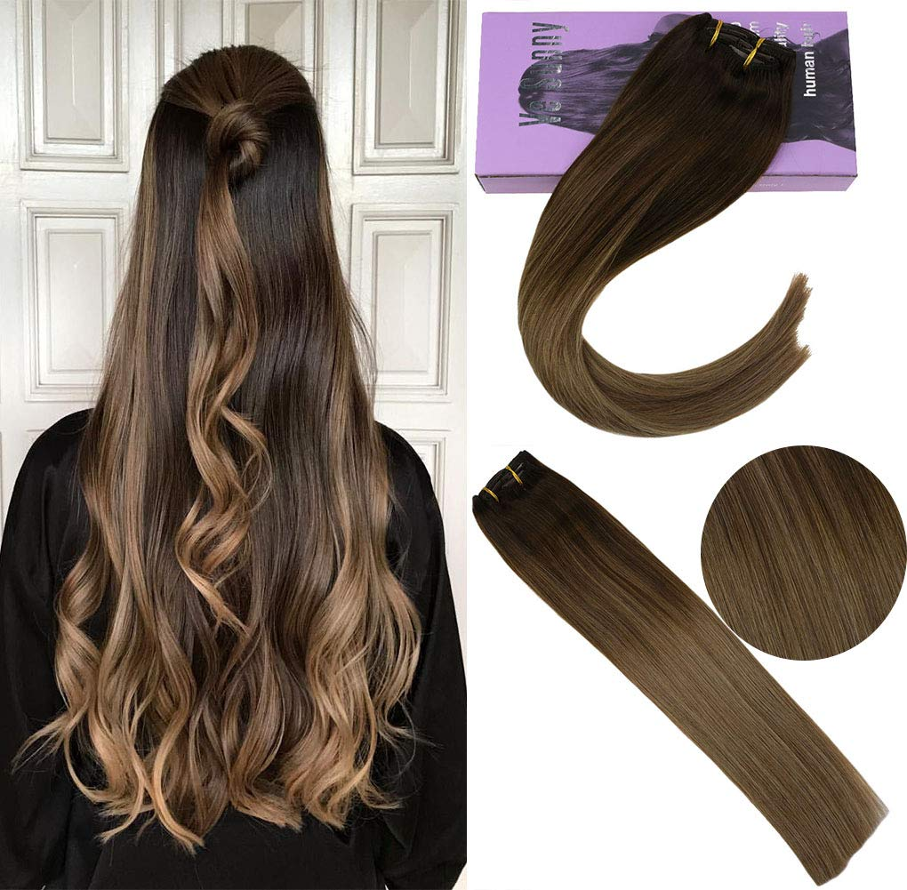 Vesunny Human Hair Extensions Clip In Ombre Dark Brown To Golden Brown With Honey Blonde Hair Clip