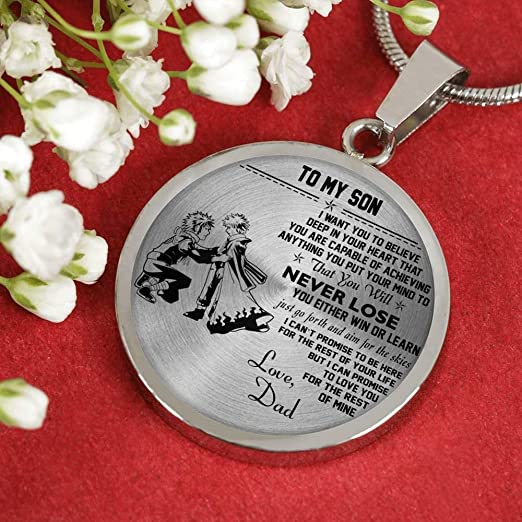 Vuvuzi Tee to My Son Necklace Pendant Chain Jewelry Father Son