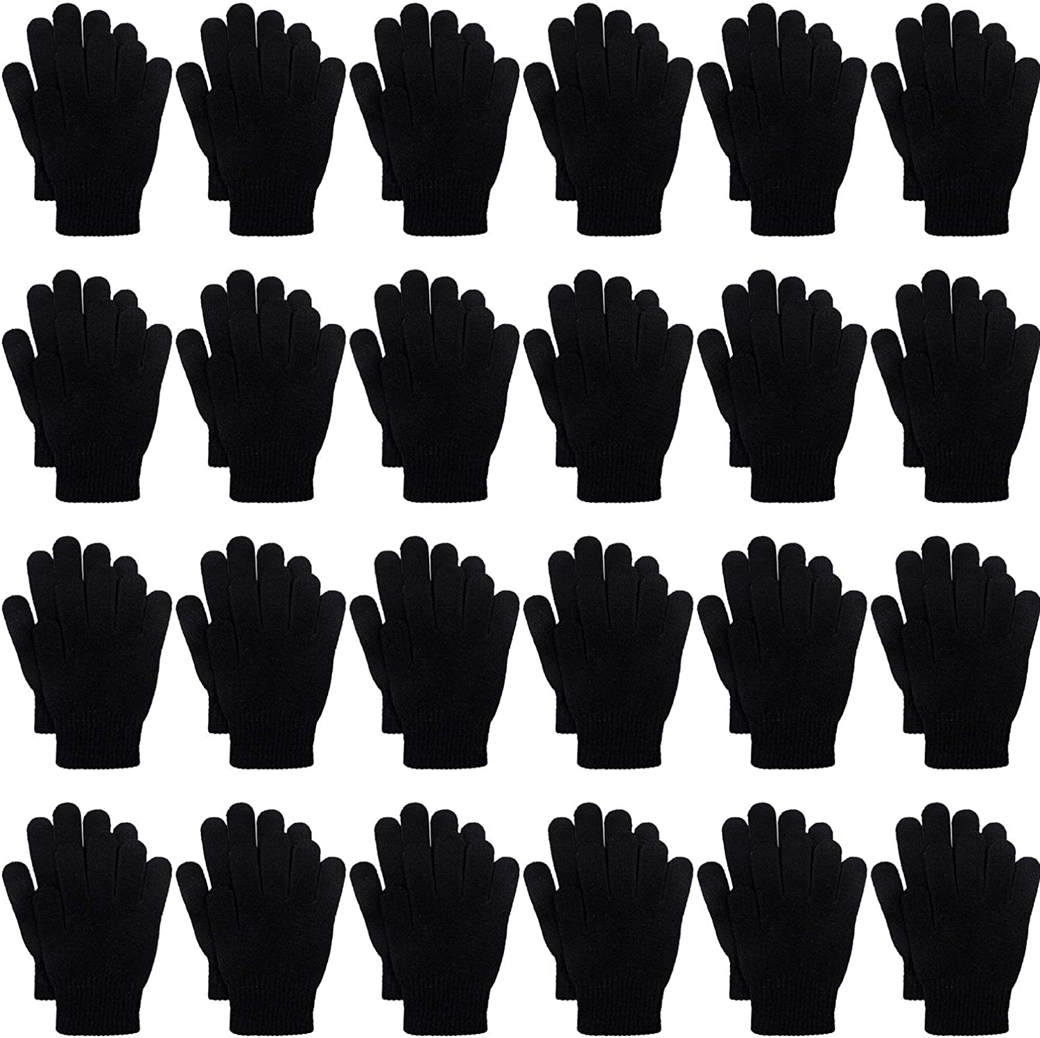 Cooraby 24 Pairs Kids Gloves Winter Magic Gloves Warm Knitted Stretchy Full Fingers Gloves
