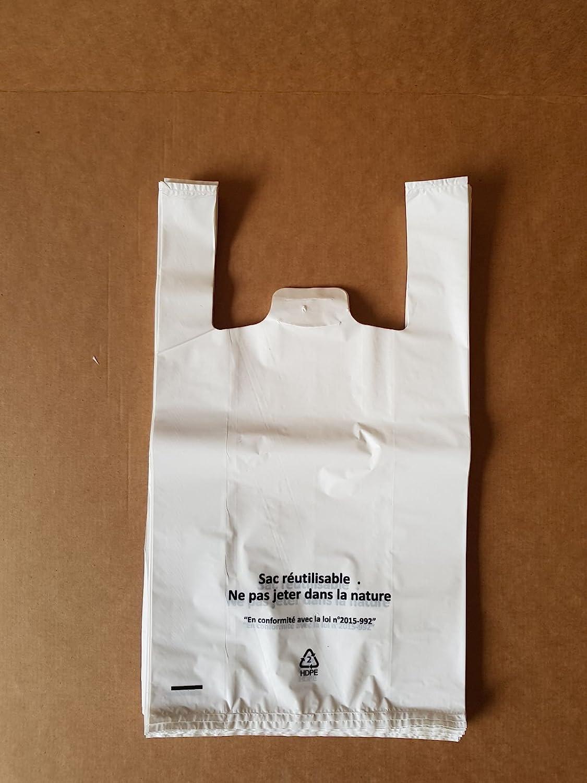 Sacs Bretelles Blanc 50 microns HDPE 26 x 38 x 45 carton de 500 Reyna