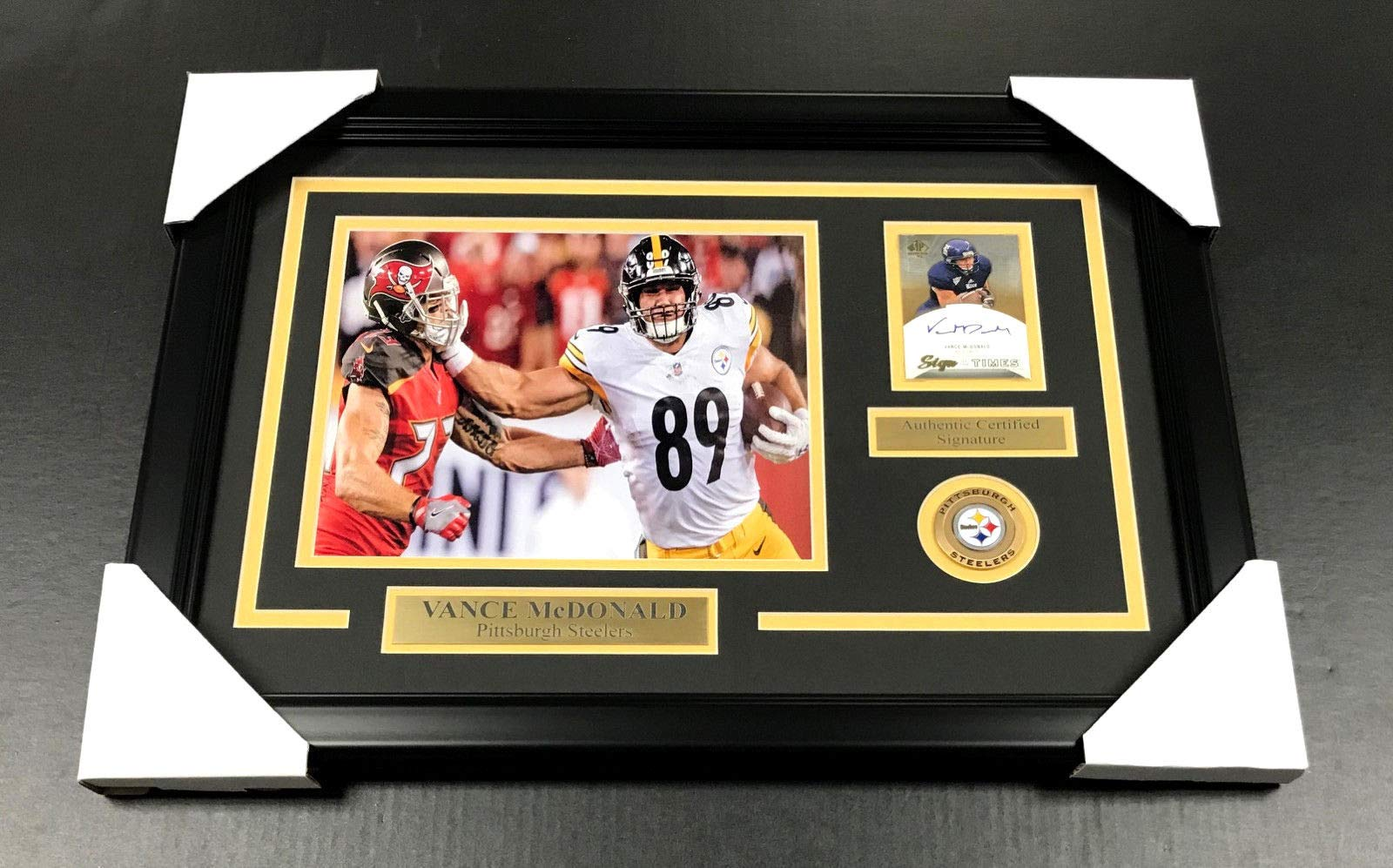 VANCE MCDONALD PITTSBURGH STEELERS AUTOGRAPHED CARD WITH 8X10 Photo Framed