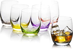 Colored Drinking Glass Set of 6, For Water, Juice, Beverages & Cocktails, Bohemian Crystal Glass Tumblers , Rainbow Collection By Crystalex, Colored, Creative Bar Set Glassware, 10 Ounces